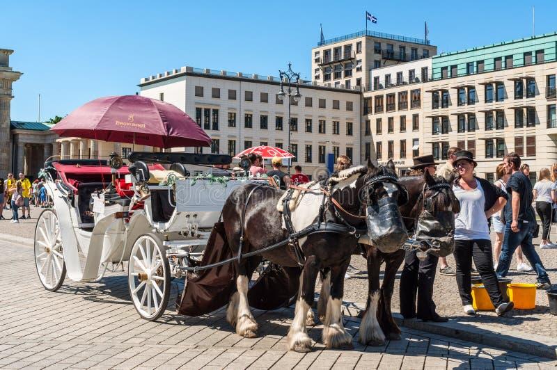 Excursão com cavalos, transporte puxado por cavalos da cidade em Berlim, Alemanha fotos de stock royalty free