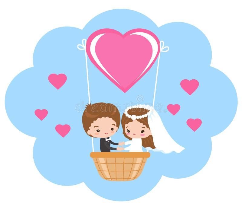 Excursão do casamento em um balão de ar quente no céu ilustração royalty free