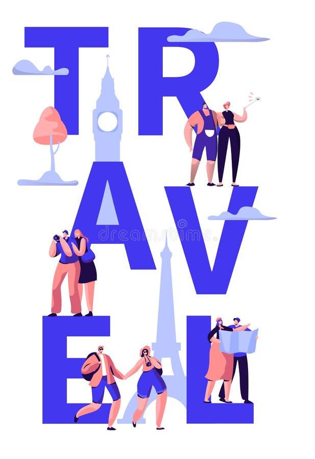 Excursão do curso em torno do projeto da bandeira da tipografia do mundo Viagem do feriado ao turismo internacional da oferta da  ilustração royalty free