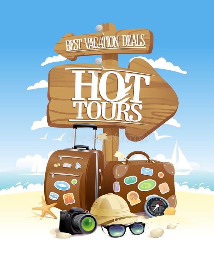 Excursões da aventura, as melhores férias, conceito de projeto turístico do vetor com a câmera dos sacos, dos óculos de sol, do c ilustração stock