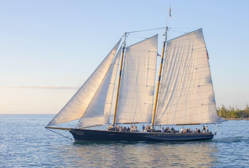 Excursões de Key West da vela do por do sol imagem de stock royalty free
