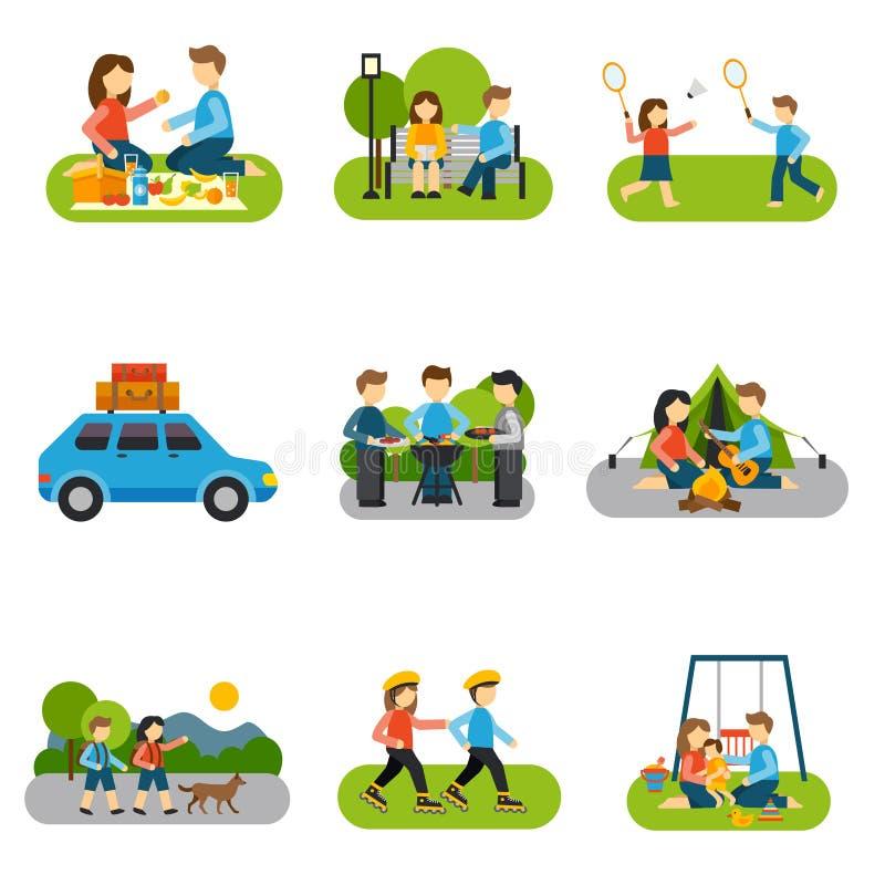 Excursión plana del icono libre illustration