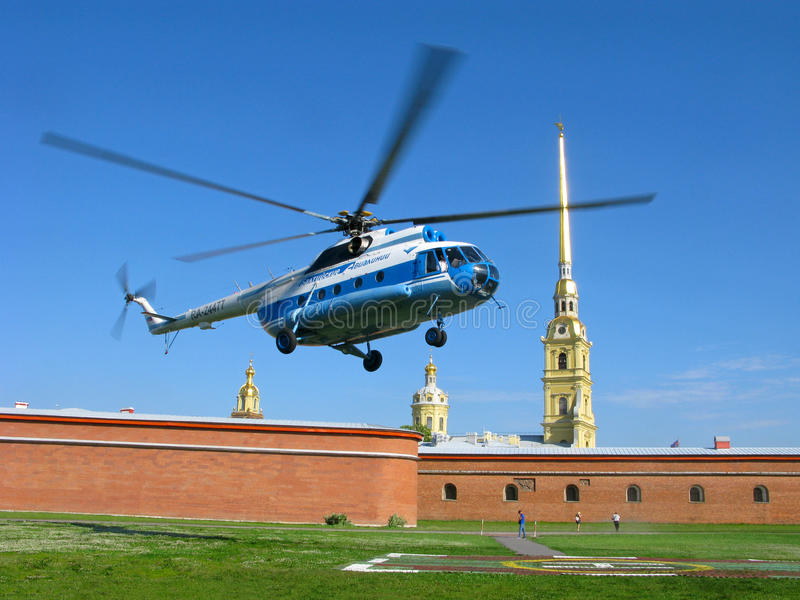 Excursie door helikopter Peter en Paul Fortress, St Petersburg, Rusland stock fotografie