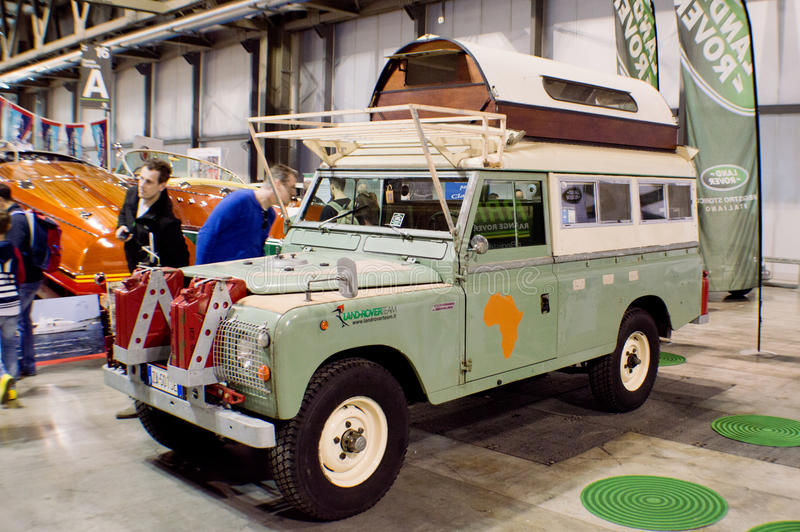 Excursie Land Rover in Milaan Autoclassica 2016 royalty-vrije stock afbeelding