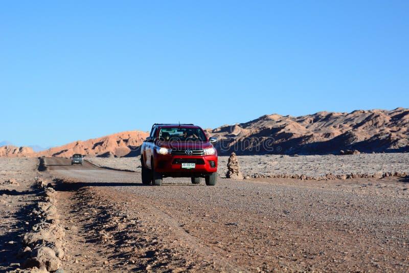 Excursion dans des routes de Luna de La de Valle De San Pedro de Atacama chile image stock