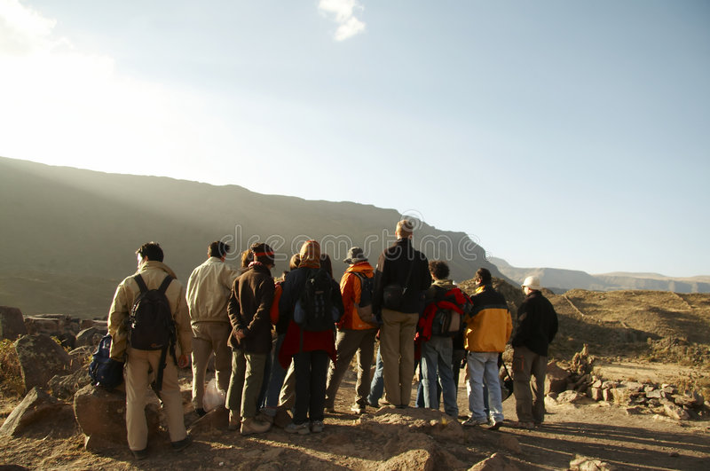 Excursion group in the Andes. People on the excursion in Colca canyon,Peru royalty free stock photography