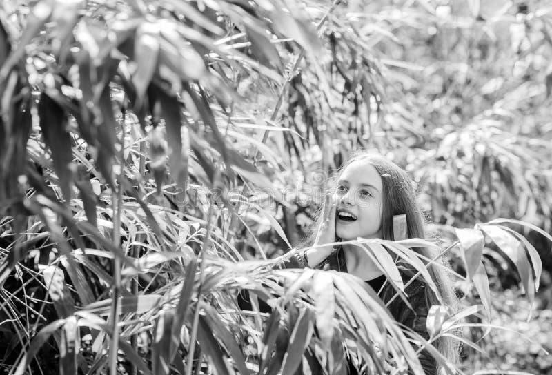 Excursion to botanical garden. Plants grown for display to public. Girl walk in botanical garden. Enjoying nature. Peaceful environment garden. Kid cute fancy royalty free stock photos