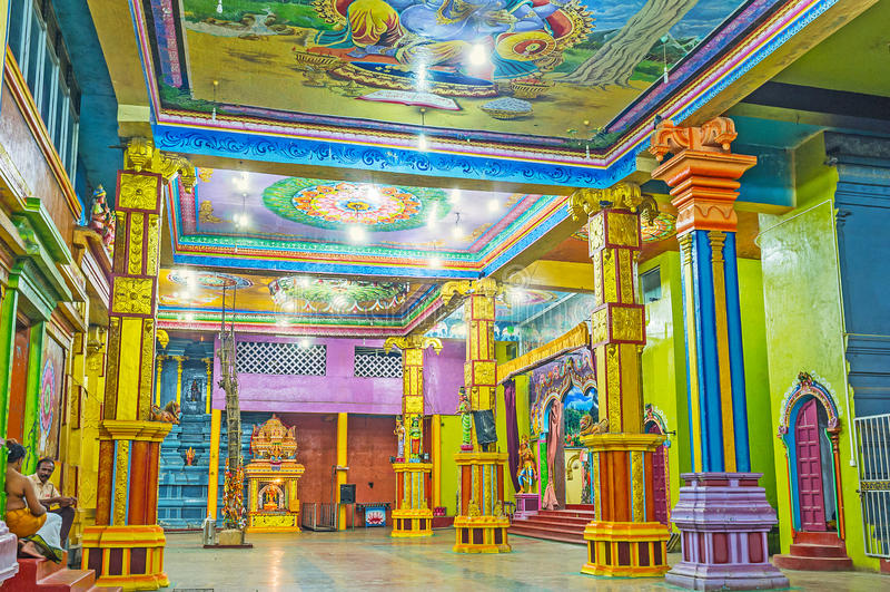 Excursion to Tamil Hindu Temple. MATALE, SRI LANKA - NOVEMBER 27, 2016: The Muthumariamman Kovil - Tamil Hindu Temple is popular among tourists, enjoying stock photography