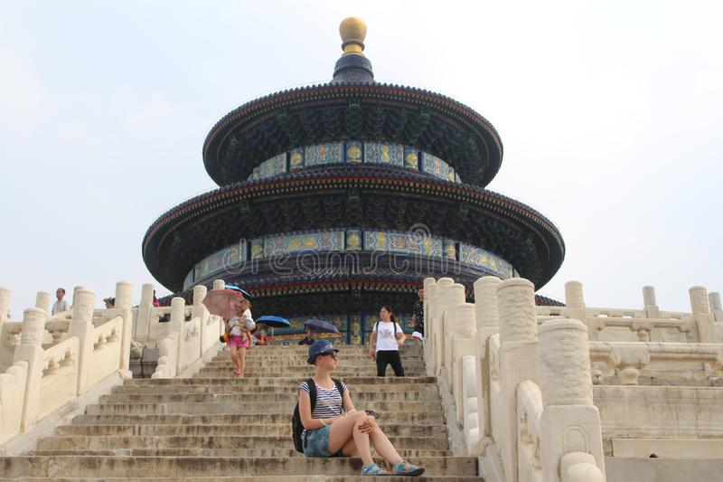 Excursion to the Temple of Heaven, one of the symbols of Beijing. royalty free stock images