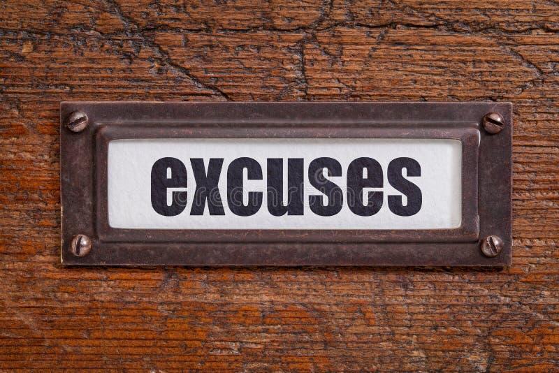 Excusas - etiqueta del gabinete de fichero fotos de archivo libres de regalías