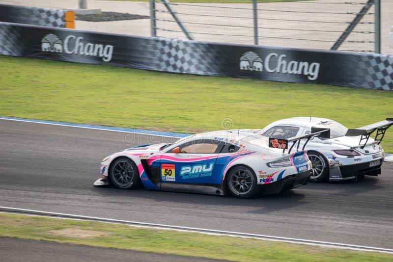 Exe Aston Martin GT300 van de rassen Dubbele Slag WAKO met GREENTEC SL royalty-vrije stock fotografie