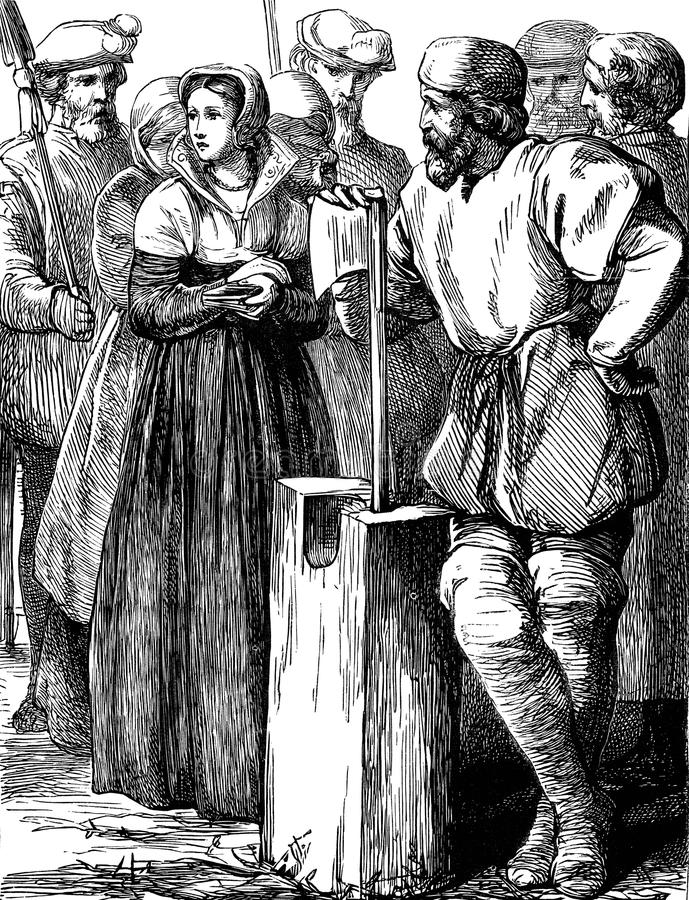 Execução da senhora Jane Grey ilustração do vetor