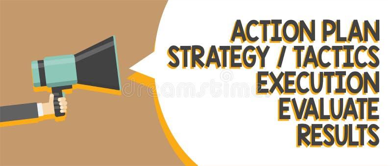A execução das táticas da estratégia do plano de ação do texto da escrita da palavra avalia resultados Conceito do negócio para o ilustração stock