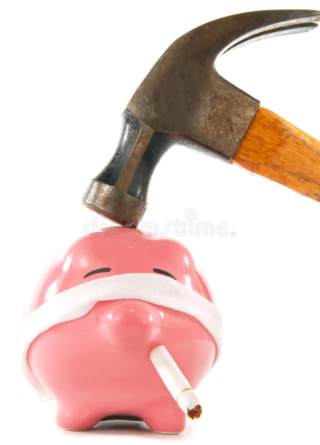 Execução do banco Piggy fotos de stock