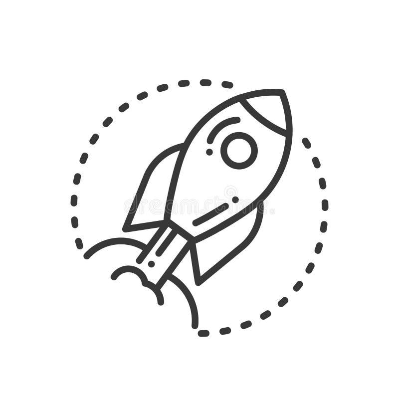 Execução do projeto - única linha moderna ícone do vetor do projeto ilustração stock