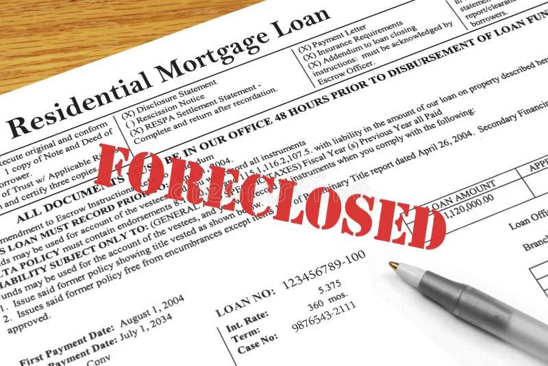Execução duma hipoteca na hipoteca fotografia de stock