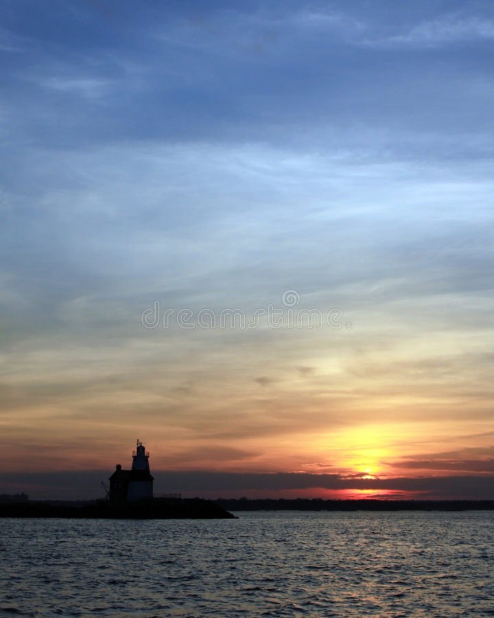 Download Execution Rocks Lighthouse At Dusk Stock Image - Image: 9211177