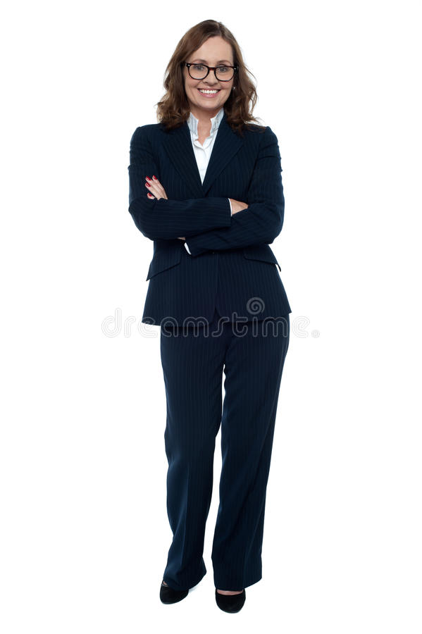 Download Executive In Business Attire Standing Arms Folded Stock Image - Image of charming, educated: 28422079