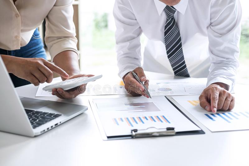 Executive Business team presentation conference on meeting to planning investment project working and strategy of business making. Conversation with partner stock images