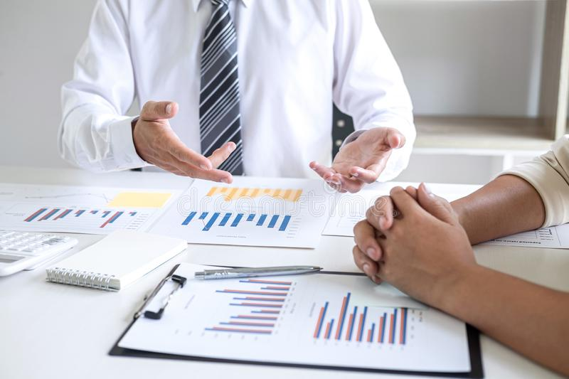 Executive Business team presentation conference on meeting to planning investment project working and strategy of business making. Conversation with partner royalty free stock images