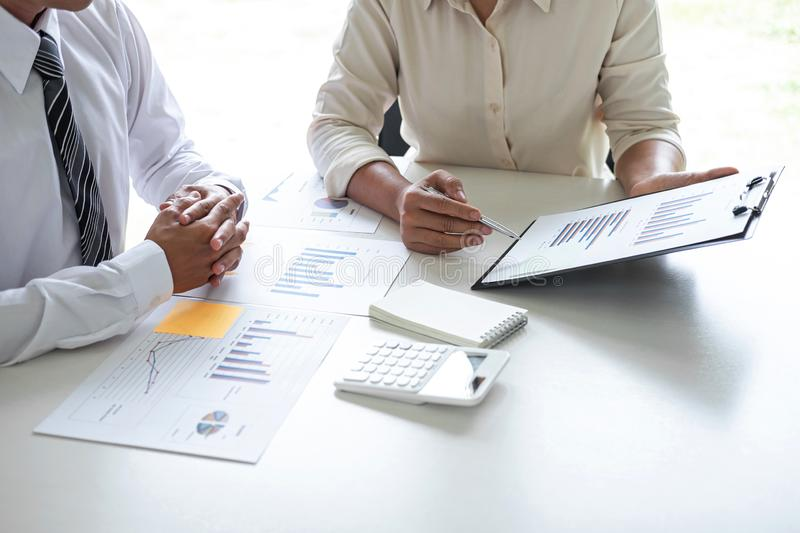 Executive Business team presentation conference on meeting to planning investment project working and strategy of business making royalty free stock image