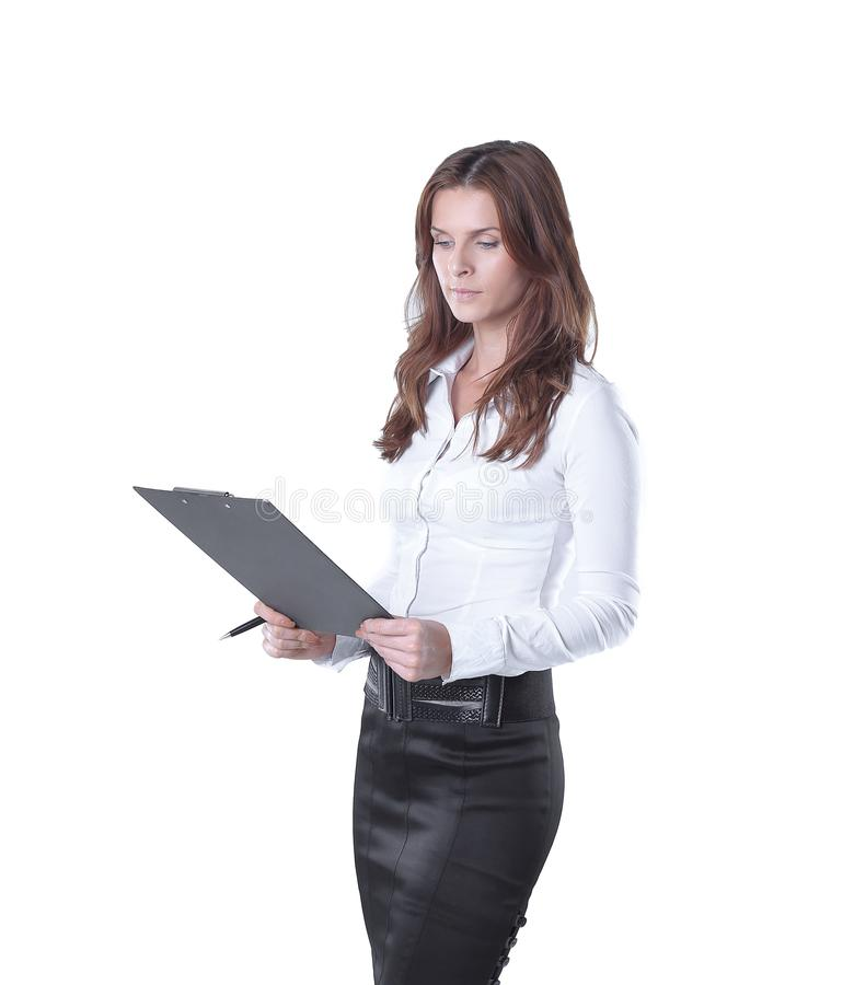 Executive business woman reading a business document stock photo