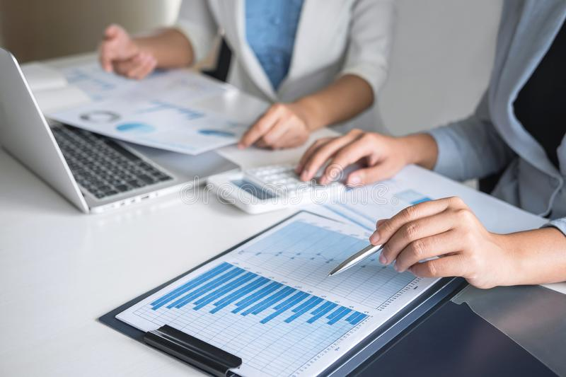 Executive business woman team brainstorming on meeting to conference planning investment project working and strategy of business. Executive business women team stock image