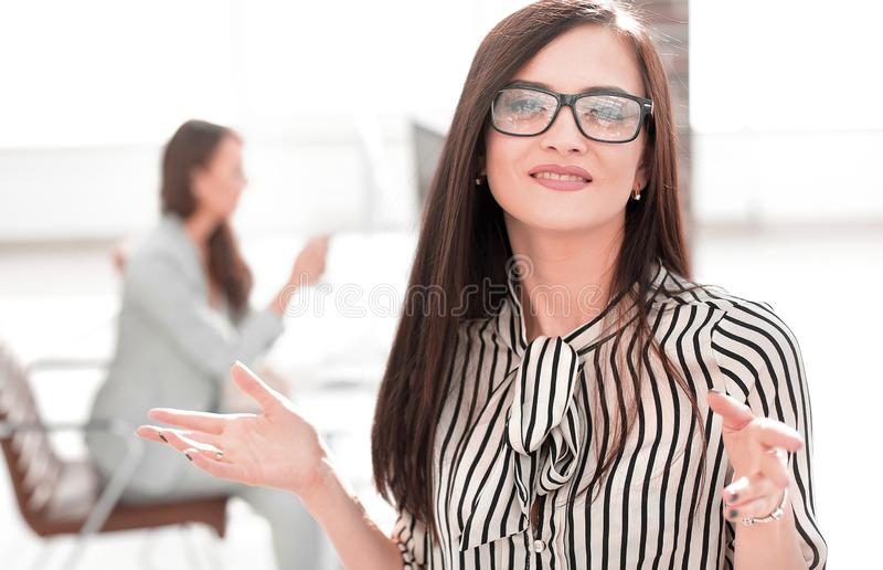 Executive business women in the blurred background. Photo with copy space stock photography