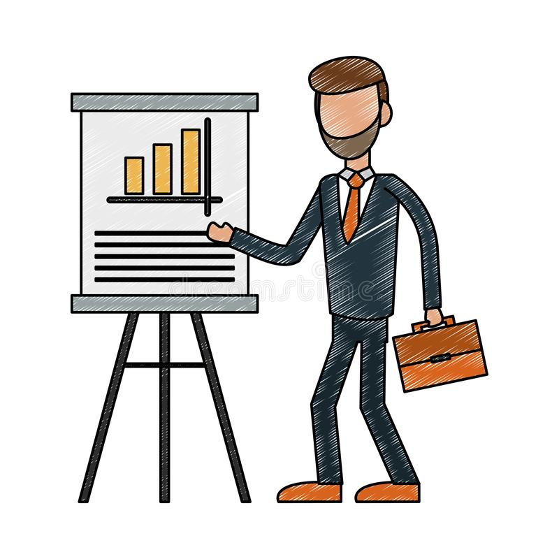 Executive businessman avatar scribble royalty free illustration