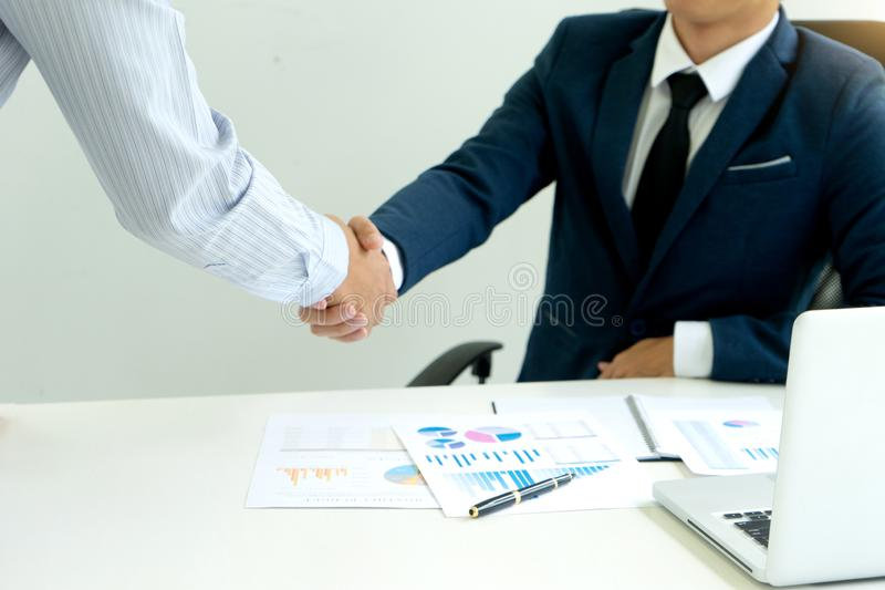 executive businessman hand shake with another business man royalty free stock photo