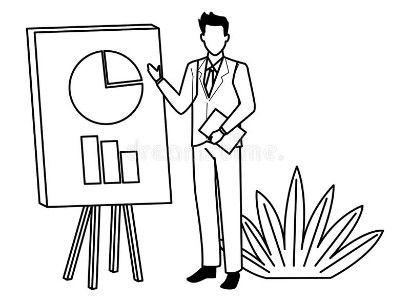 Executive businessman showing business graphs on whiteboard in black and white stock illustration