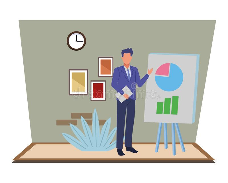 Executive businessman showing business graphs on whiteboard royalty free illustration