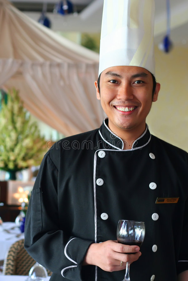 Executive Chef And Red Wine Royalty Free Stock Photos