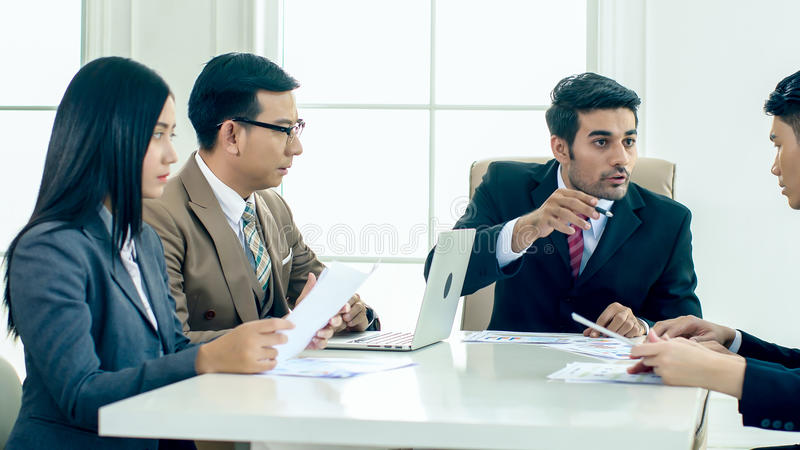 The executive director has upset in the meeting. The executive director has upset when looking report and found fault the Operation error and ask for royalty free stock images