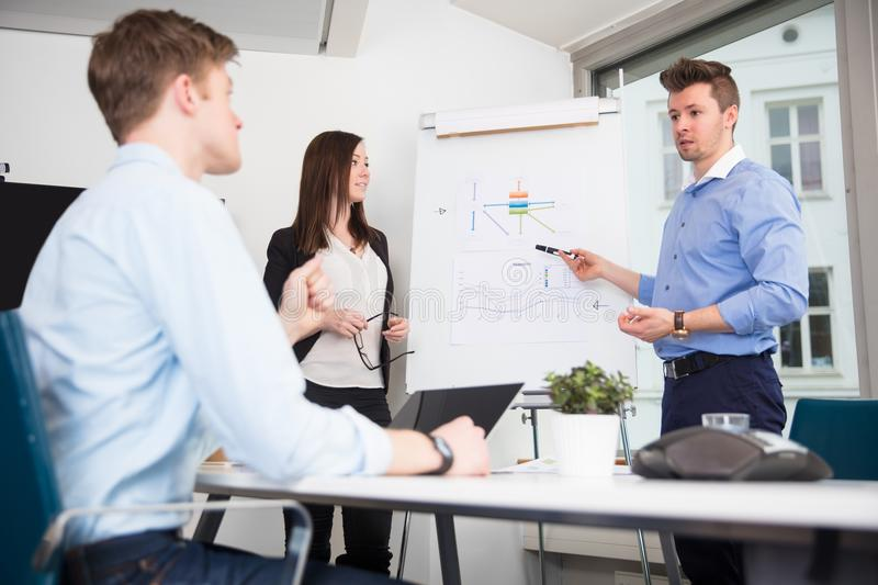 Executive Explaining Presentation To Coworkers In Office royalty free stock images