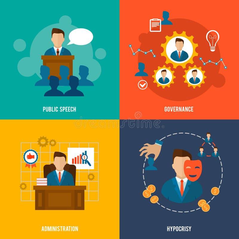 Executive icons flat royalty free illustration