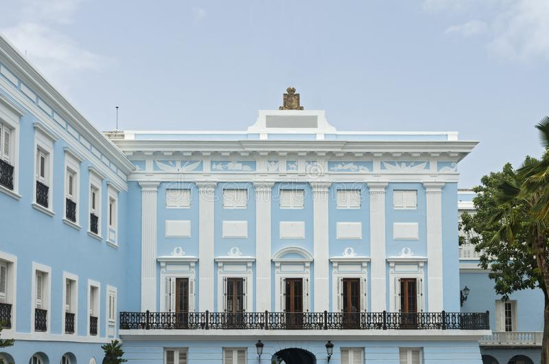 Executive Mansion in Old San Juan Puerto Rico. Governor's mansion of colonial neoclassical style architecture in old san juan puerto rico royalty free stock photo