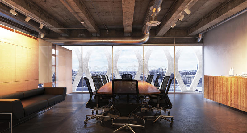 Executive modern empty business high rise office conference room overlooking a city with industrial accents royalty free stock photography