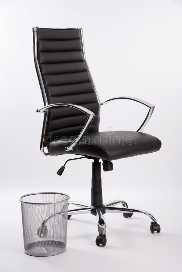 Executive Office Chair With A Wire Waste Basket Stock Image - Image ...