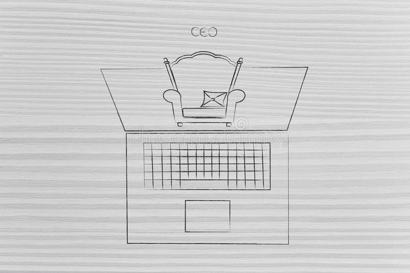 CEO chair popping out of laptop screen. Executive and online businesses conceptual illustration: CEO chair popping out of laptop screen stock photography