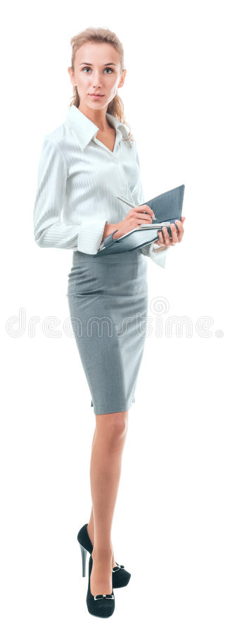 Executive secretary makes notes in a diary stock images