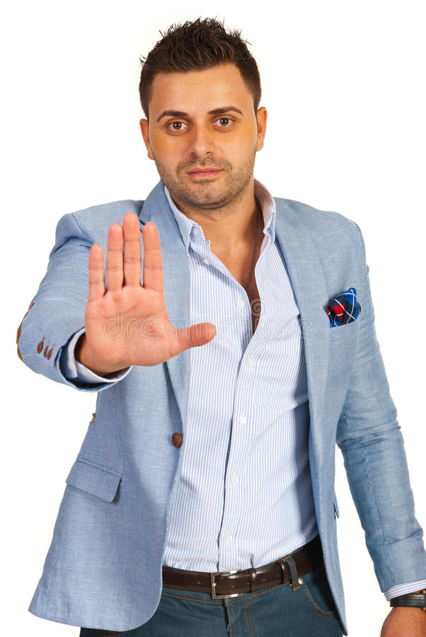 Executive with stop hand. Executive man gesticulate stop hand isolated on white background royalty free stock photography