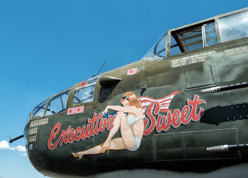 Nose art, World War Two airplane royalty free stock image