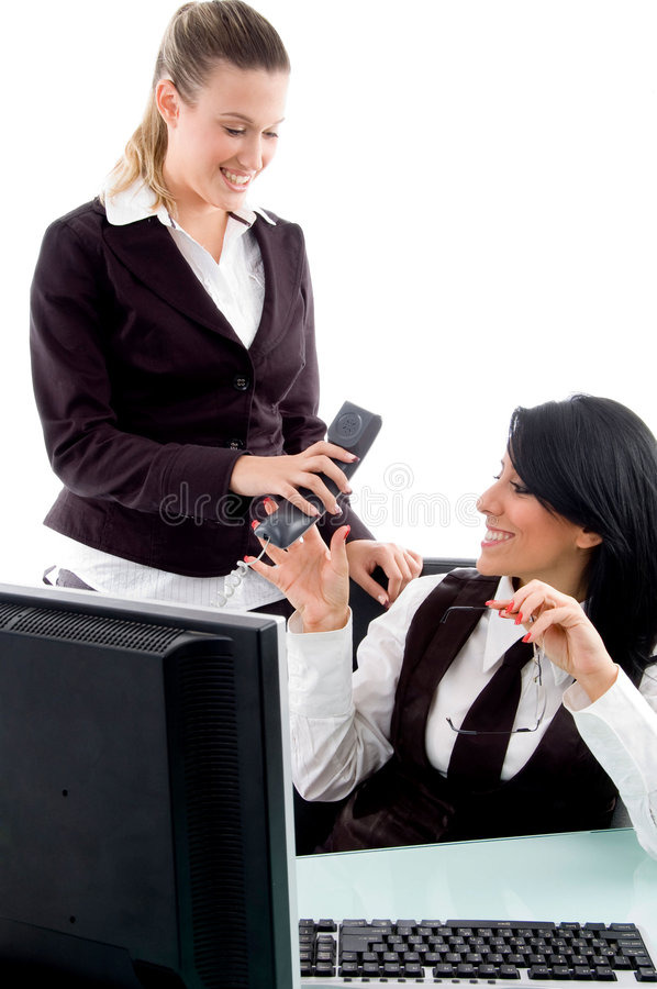 Download Executive Taking Phone Receiver From Her Secretary Stock Image - Image: 7362683