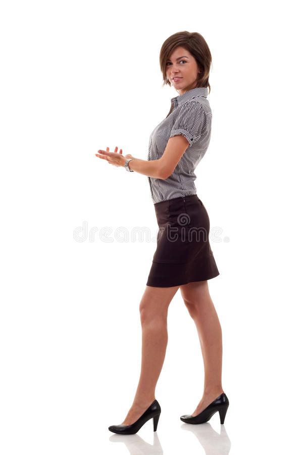 Executive woman inviting stock images