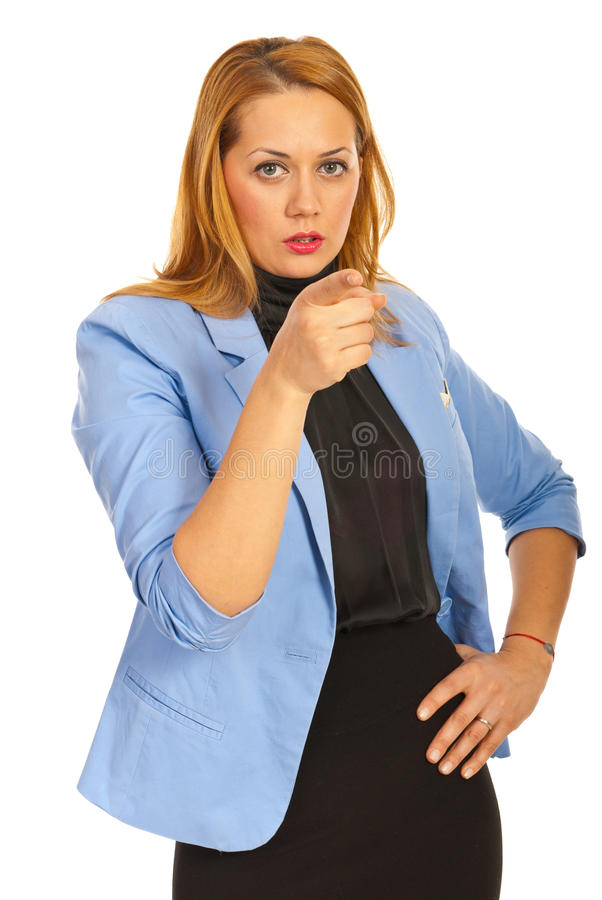Executive woman pointing to you. Isolated on white background royalty free stock photos