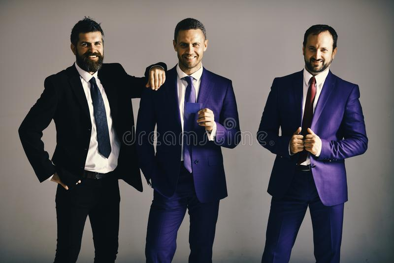 Executives advertise company and partnership on light grey background. Businessmen wear smart suits and ties. Business. And presentation concept. Men with beard stock image