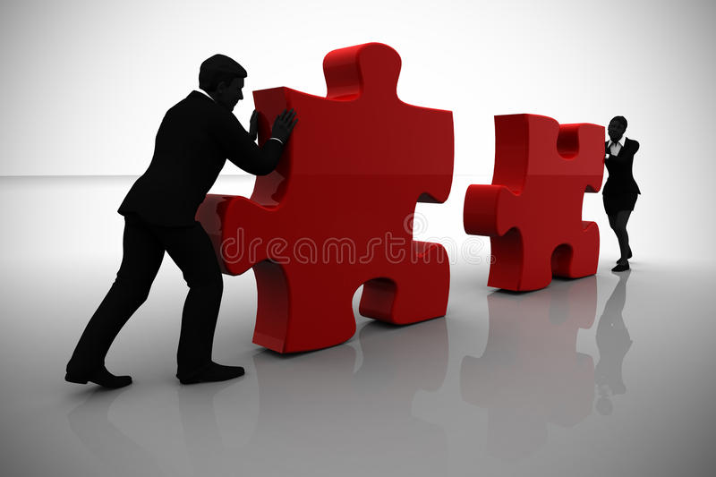 Executives connecting jigsaw puzzle pieces vector illustration