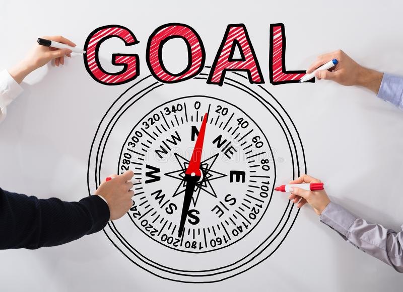 Executives Drawing Goal Concept On Whiteboard Stock Illustration