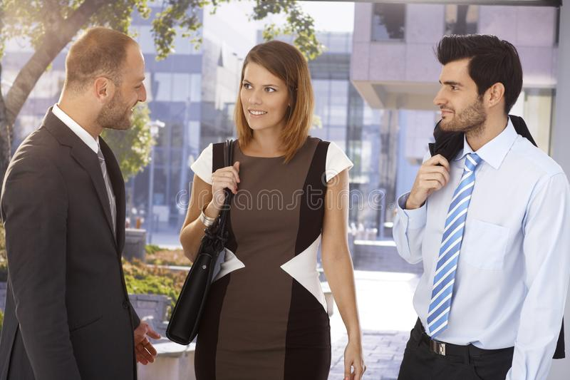 Executives meeting on the street royalty free stock photography